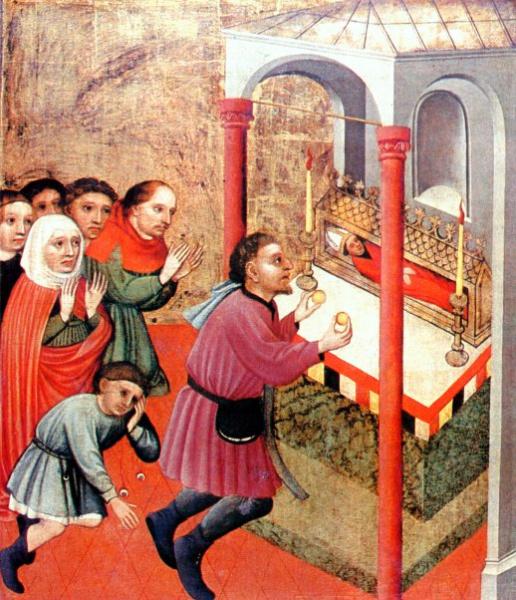Fløy av Deokar-alteret i kirken St Lorenz i Nürnberg: Deokar helbreder en blind ung mann